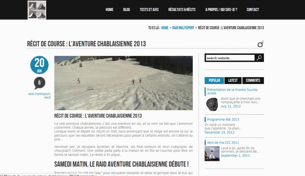 Récit - l'aventure chablaisienne 2013